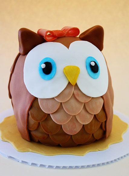 owl cake { tutorial}