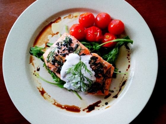 Orange-Roasted Salmon With Yogurt-Caper Sauce Recipes — Dishmaps