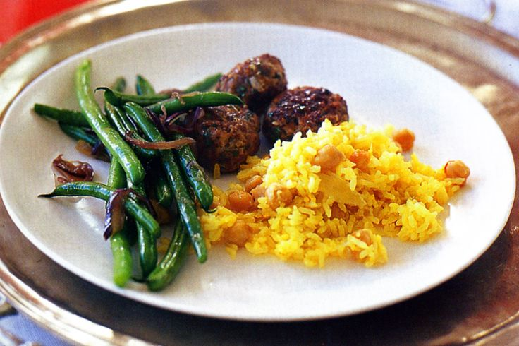 Saffron & Chickpea Pilaf (butter, brown onion, saffron threads, long ...