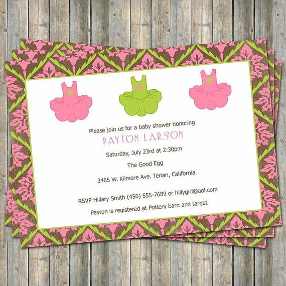 dance baby shower invitation tutu modern and bright digital print