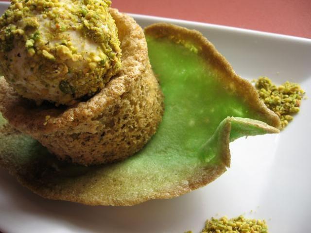 Pistachio cake, pistachio tuile, pistachio encrusted vanilla ice cream ...
