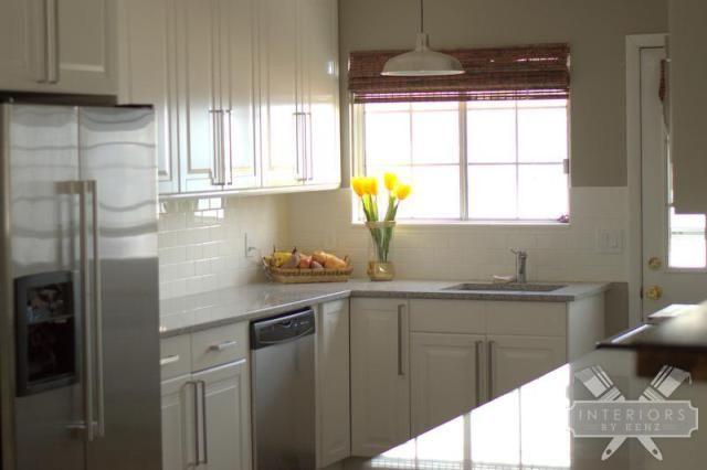 White Ikea cabinets and subway tile back splash Rockport gray paint
