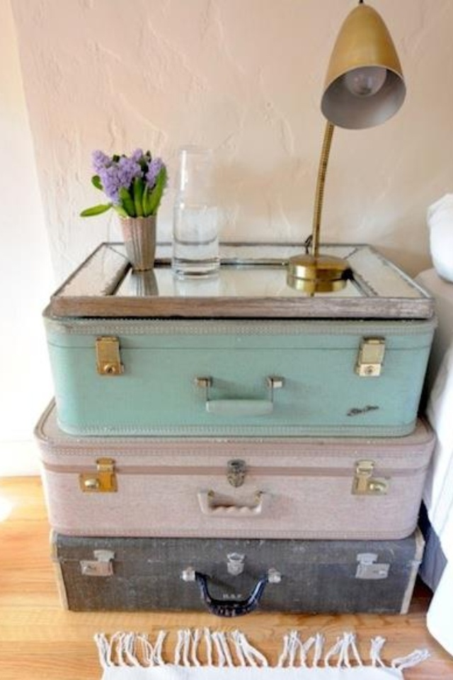 retro suitcase nightstand homegirl pinterest
