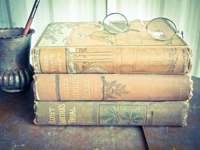 Three Hard Cover Antique Books - Beautiful Brown Vintage Photography Covers