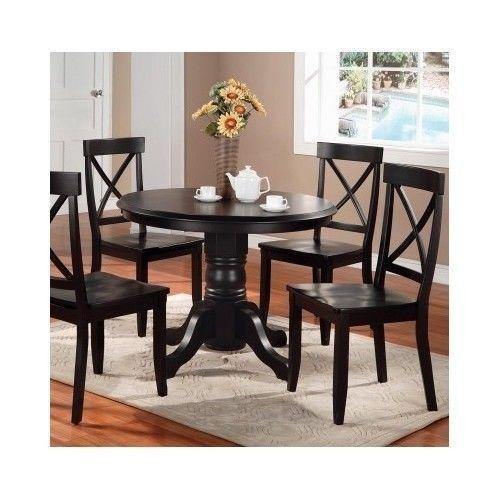 piece dining table set pedestal wood kitchen black white oak furnit