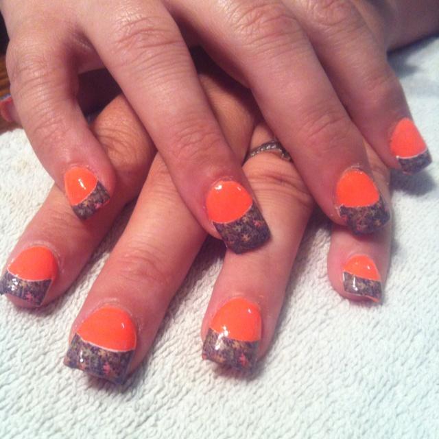 Mossy Oak camo acrylic nails