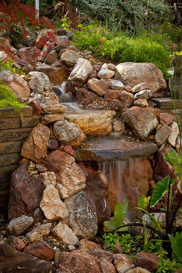 Pin by teri griffin guntert on waterfall pinterest for Garden pond waterfall designs
