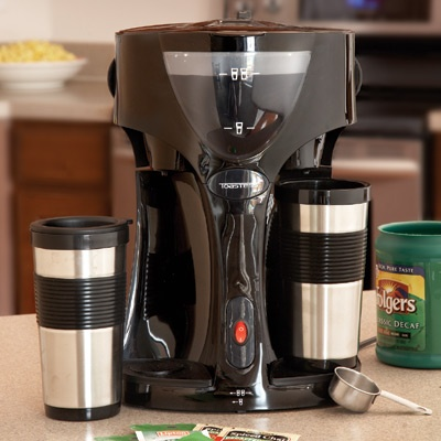 Coffee Maker For Travel Mug : Dual Coffee Maker with Two Travel Mugs cool stuff Pinterest