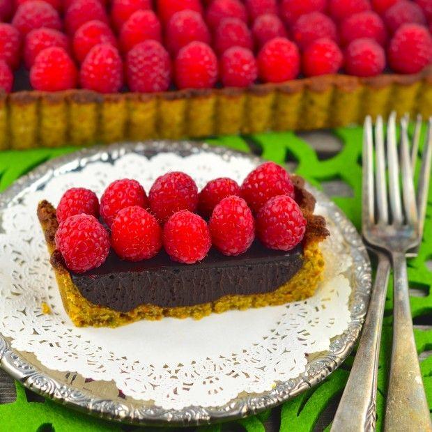 Vegan Raspberry & Chocolate Tart - May I Have That Recipe