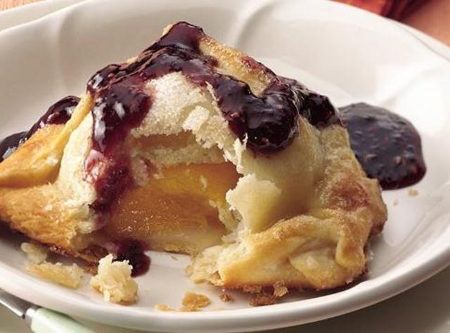 Yum... I'd Pinch That! | peach dumplings with raspberry sauce