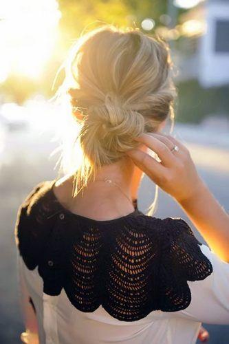 summer hair ideas and beautiful crochet shirt