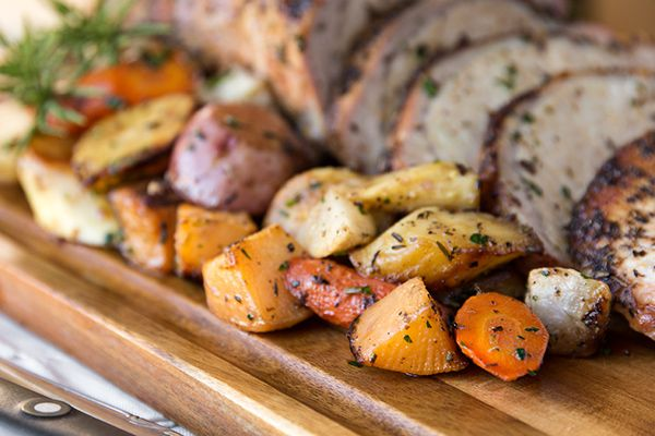 Roasted Pork Loin with root vegetables | get in my belly | Pinterest