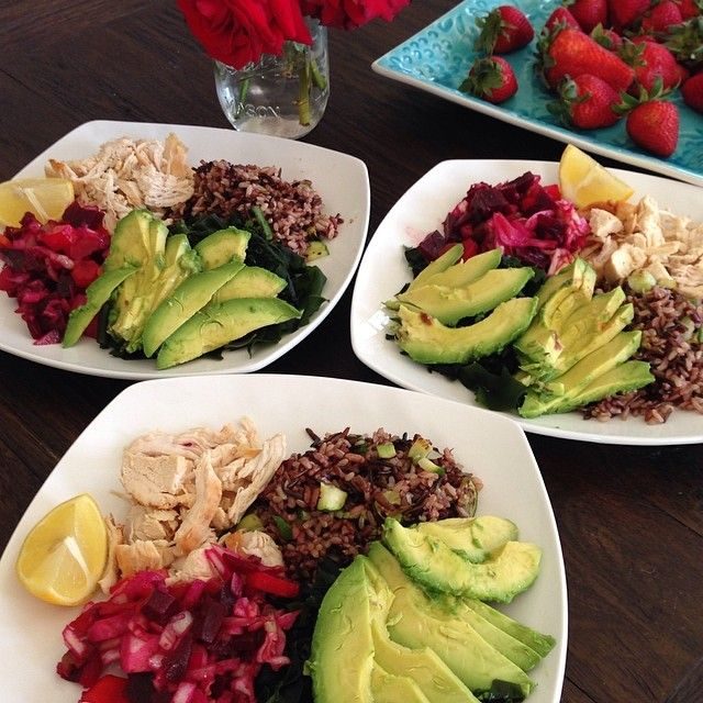 Wild rice with chicken breast, beet salad, seaweed, and of course ...