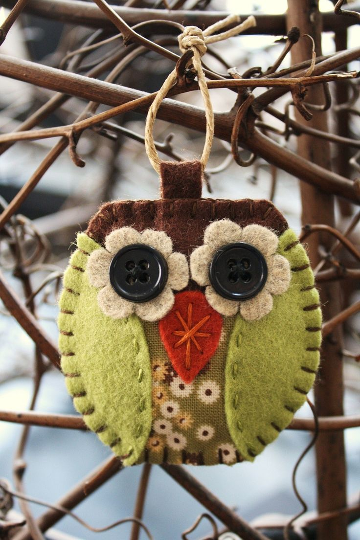 owl felt and fabric ornament