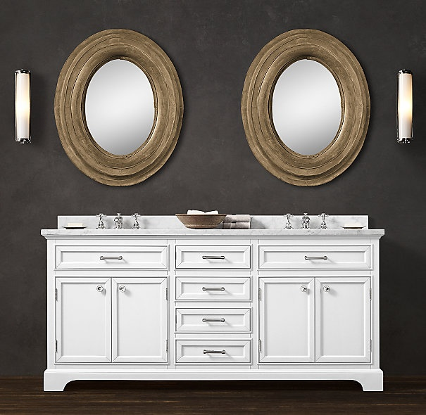... the vanity (Restoration Hardware); maybe with the darker countertop