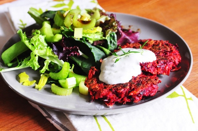 Tricolore latkes, with sweet potato, carrot and beets