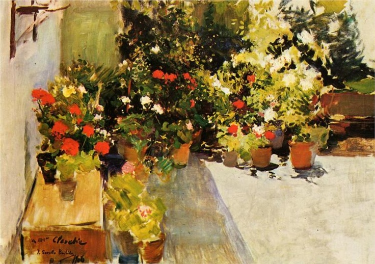 a rooftop with flowers 1906 - joaquín sorolla
