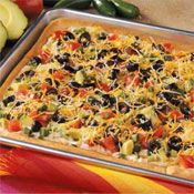 Taco Pan Pizza Recipe - add a half pound of taco meat to this and it ...
