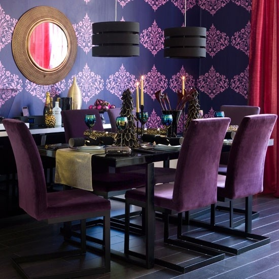 Dramatic and moody purple dining room dine in style for Dining room ideas purple
