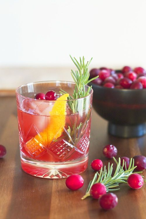 spiced rum + cranberry old fashioned | delicious - drinks | Pinterest