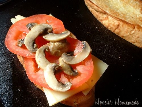 Grilled Cheese Sandwich with Sauteed Mushrooms and Jarlsberg Cheese