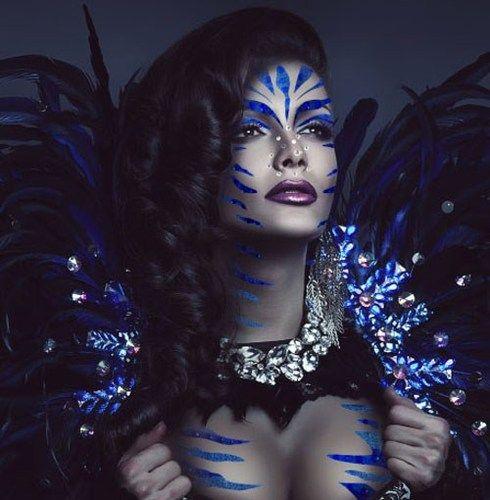 Xotic blue costume rhinestone body art halloween vatara for Rhinestone body tattoos