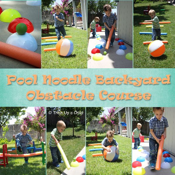 Pool Noodle Backyard Obstacle Course!