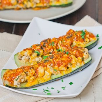 Chicken Enchilada Stuffed Zucchini | Chicken | Pinterest