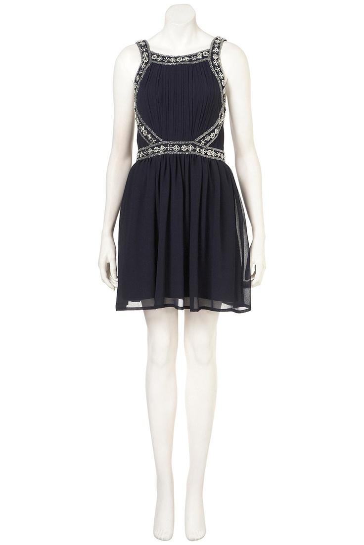 Top Shop EMBELLISHED PANEL STRAP DRESS