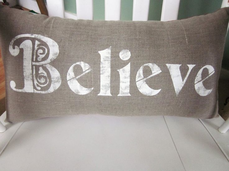 Shabby Chic Christmas Pillows : Christmas pillow,throw pillow, accent pillows, housewares,believe, sh?