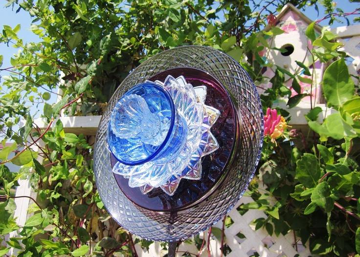 Glass yard art flowers - Garden Art Glass Plate Flower Yard Stake Suncatcher Repurposed Upcycl