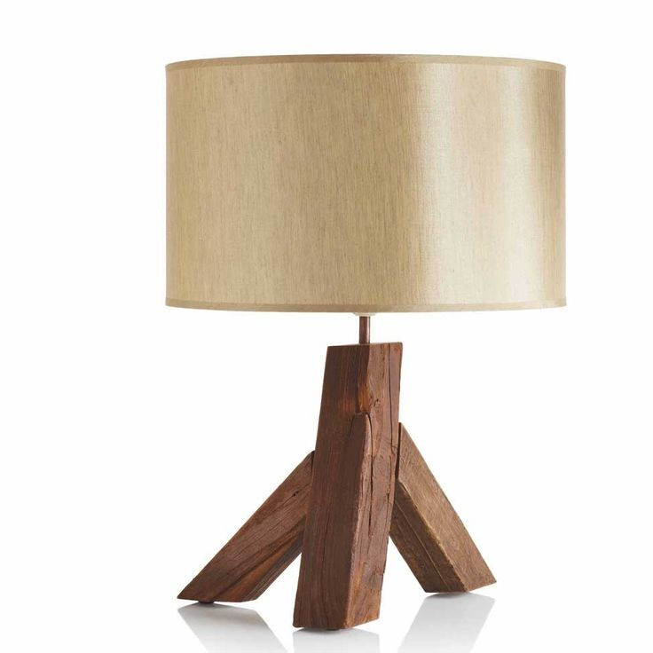 "Recycled Elm Wood Table Lamp, 22""H - VivaTerra"
