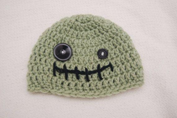 Crochet Zombie Hat : Newborn crocheted creepy/cute zombie hat by BinzCrafter5000, $15.00