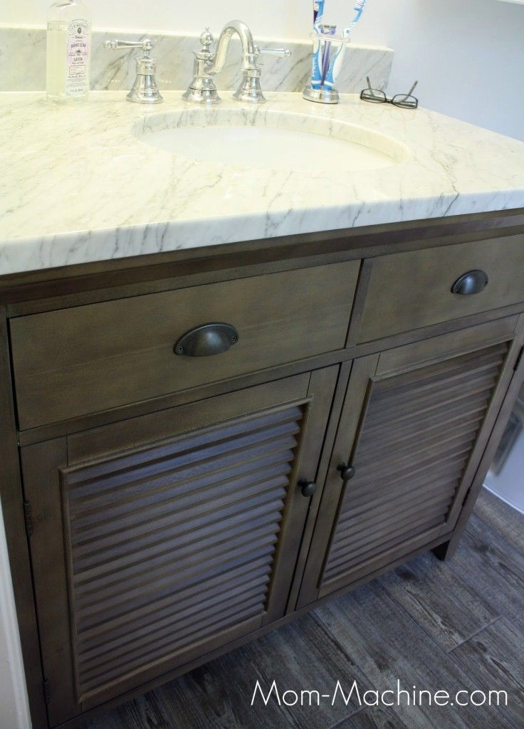 regular cabinet to bathroom vanity diy