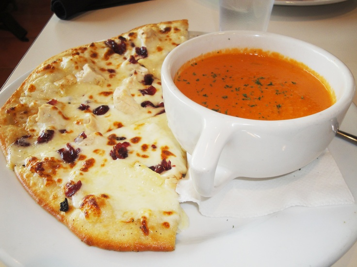 Turkey Brie Cranberry pizza and Roasted Tomato Basil soup