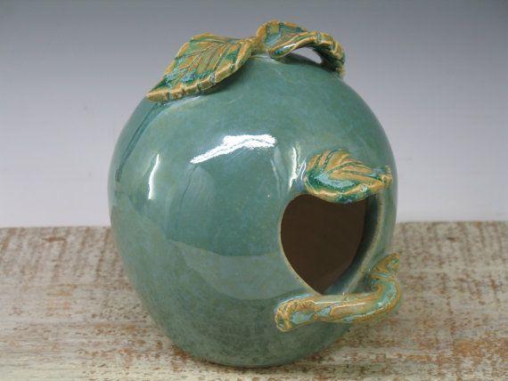 Whimsical BirdHouse / feeder - handmade ceramic pottery by Heidi