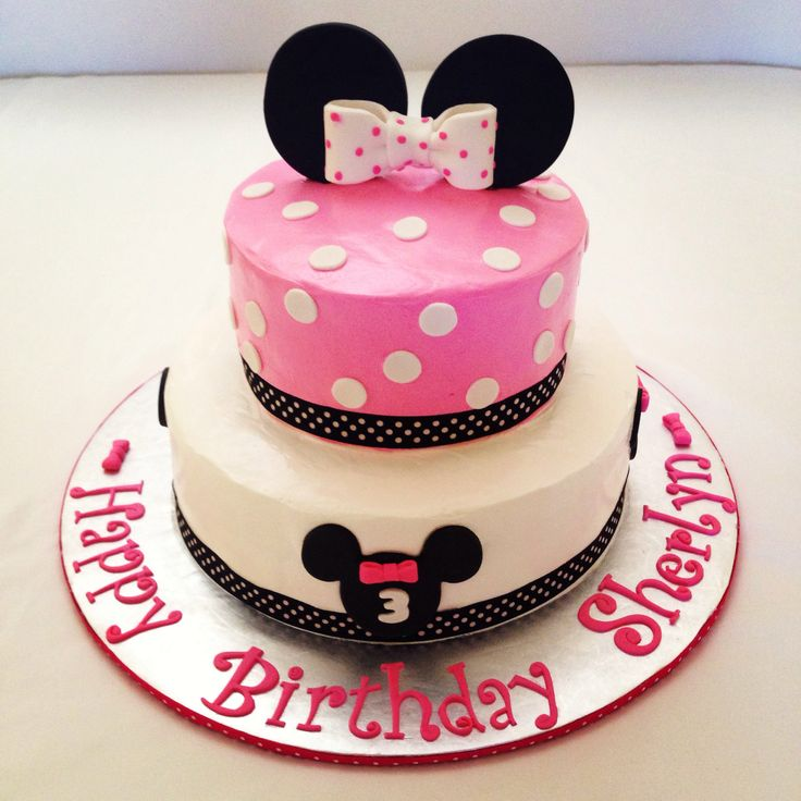 Minnie Mouse Cake, polka dots, pink and white, birthday cake  Cakes ...