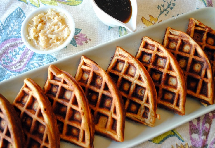 Banana Bread Waffles with Bourbon-Pecan Butter and Cinnamon Syrup