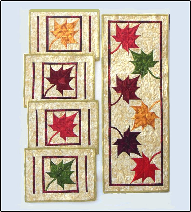 Quilt Patterns For Table Runners And Placemats : Dancing Maples Table Runner and Placemats PDF Quilt Pattern