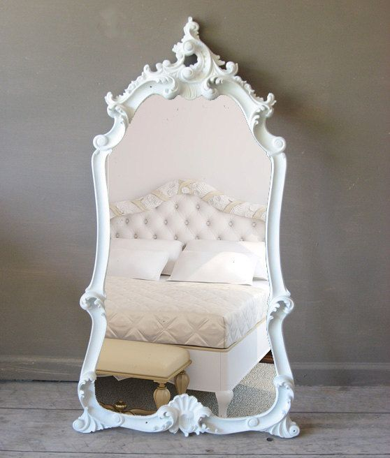 Large leaning ornate white mirror 489 leaning mirrors for Big mirror with white frame