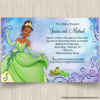 princess tiana and frog baby shower invitations