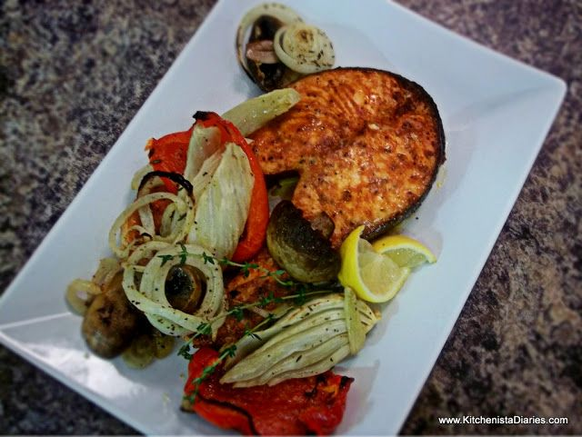 Smoked Paprika & Saigon Cinnamon Salmon Steaks with Roasted Peppers ...