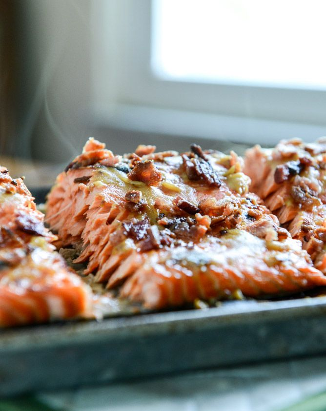 Easy Grilled Maple Dijon Salmon with #Bacon! Naturally #GlutenFree!