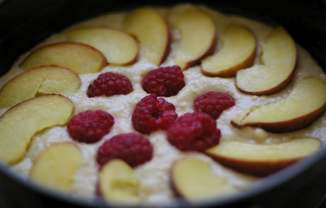 raspberry & peach cake with clouds of vanilla frosting and aromatic ...