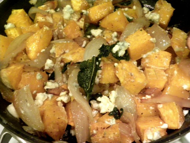 Butternut Squash With Caramelized Onions, Gorgonzola, and Crispy Fried ...