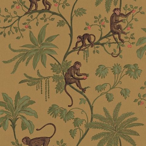 monkey toile wallpaper illustration pinterest