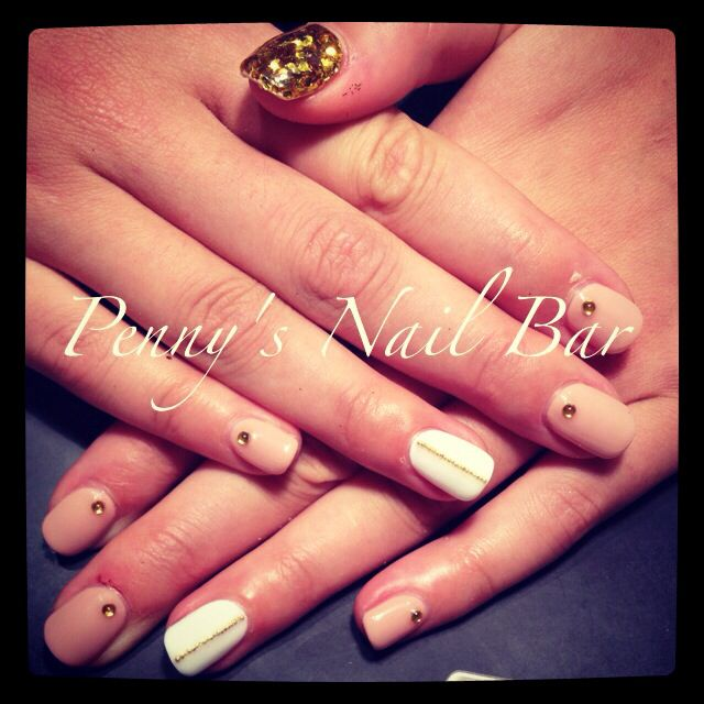 Nude nails with gold nail art  Penny39;s Nail Bar  Pinterest