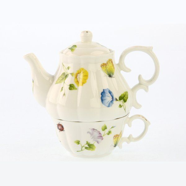 Morning Glory Tea for One Stackable Tea Set