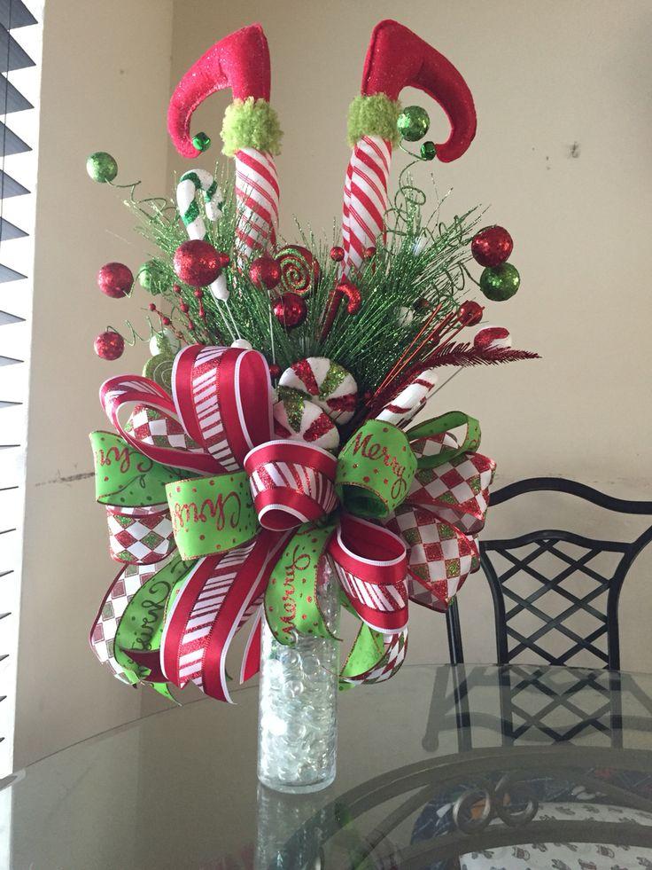 Elf legs christmas tree topper, Elf themed Christmas decorations ...