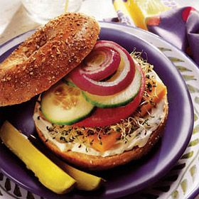 Vegetable & Cheese Bagel Sandwich | Brown Bag Bliss | Pinterest